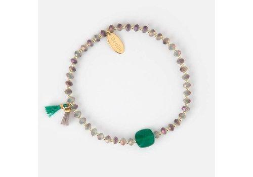 Orelia Orelia Armband met groene steen