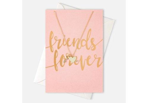 Orelia Orelia Ketting Sleutel/Hartje op 'Friends Forever' kaart