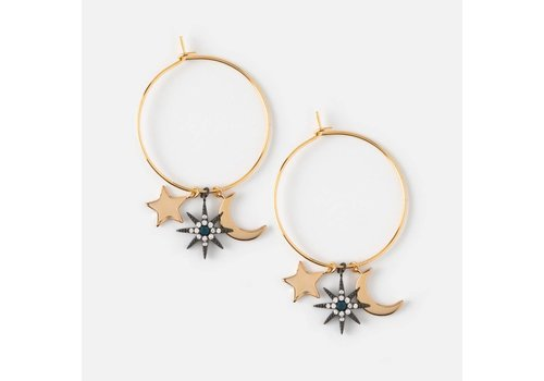 Orelia Orelia Oorbellen Hoops Moon + Star Charms