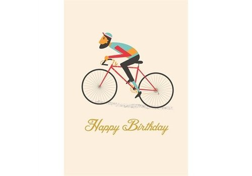 Rex International Wenskaart Le bicycle 'Happy birthday'