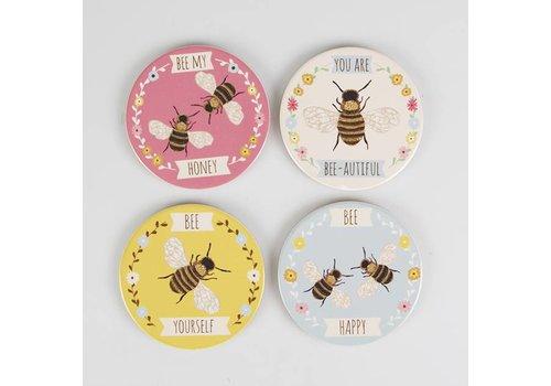 Sass & Belle Set van 4 onderleggers 'you are bee-autiful'