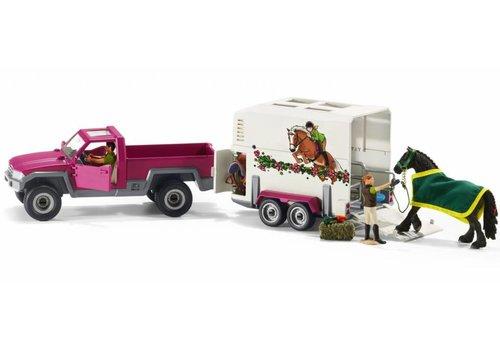 Schleich Schleich Pick-up Truck met Aanhangwagen voor Paarden