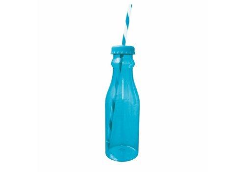 Zak! Designs Zak! designs Soda waterfles met rietje 70 cl blauw