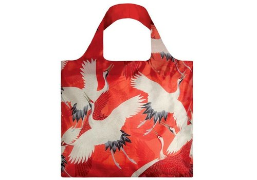 Loqi Loqi Foldable Bag Museum Coll.  White & Red Crane Birds