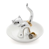 Balvi Ring Holder Gatto Silver Ceramic