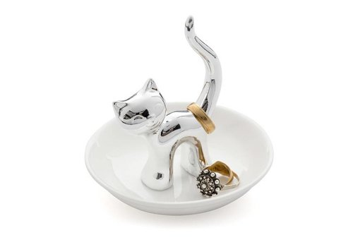 Balvi Balvi Ring Holder Gatto Silver Ceramic