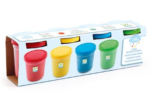 Djeco Djeco 4 Tubs of Play Dough - blue, green, yellow & red
