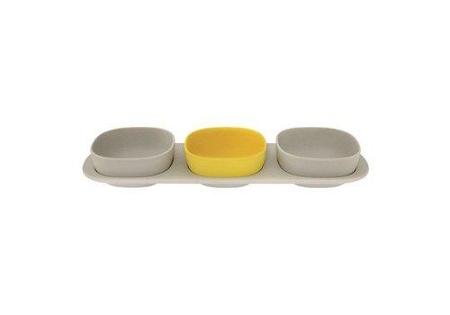 Point-Virgule Point Virgule 3-piece Bamboo Fiber Snack Plate Set Grey Yellow