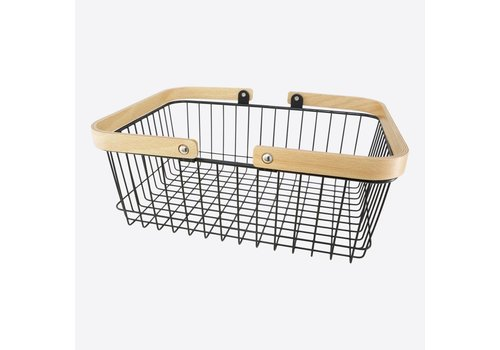 Point-Virgule Point Virgule Rectangular Basket with Handles Black