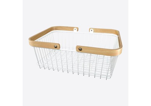 Point-Virgule Point Virgule Rectangular Basket with Handles White