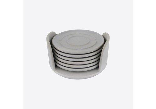 Point-Virgule Point Virgule Set de 6 Glass Coasters in Holder Grey