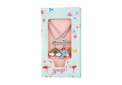 Souza! Souza! Gift box 2 Necklaces Best Friends Unicorn Silver