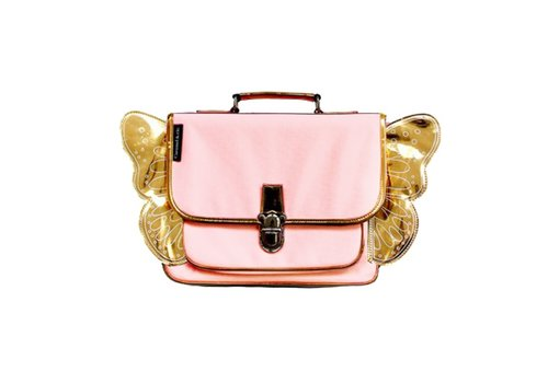 Caramel & Cie Caramel & Cie Small Pink Schoolbag with Golden Wings