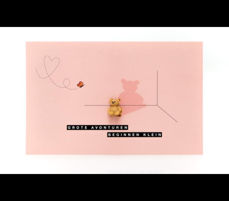 Leuke Kaartjes Greeting Card Little Bear Grote Avonturen Beginnen Klein (Pink)