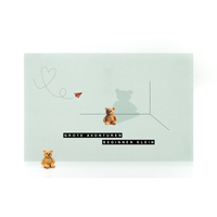 Leuke Kaartjes Greeting Card Little Bear Grote Avonturen Beginnen Klein (Light Green)