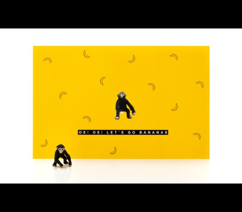 Leuke Kaartjes Greeting Card Monkey Oe! Oe! Let's Go Bananas