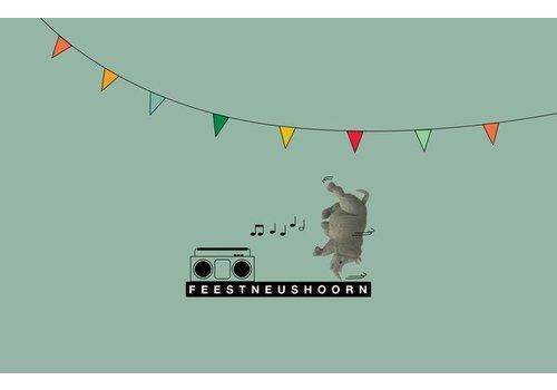 Leuke Kaartjes Leuke Kaartjes Greeting Card Rhino Feestneushoorn