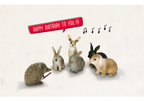 Leuke Kaartjes Leuke Kaartjes Greeting Card Hedgehog Rabbits Happy Birthday To You!!!