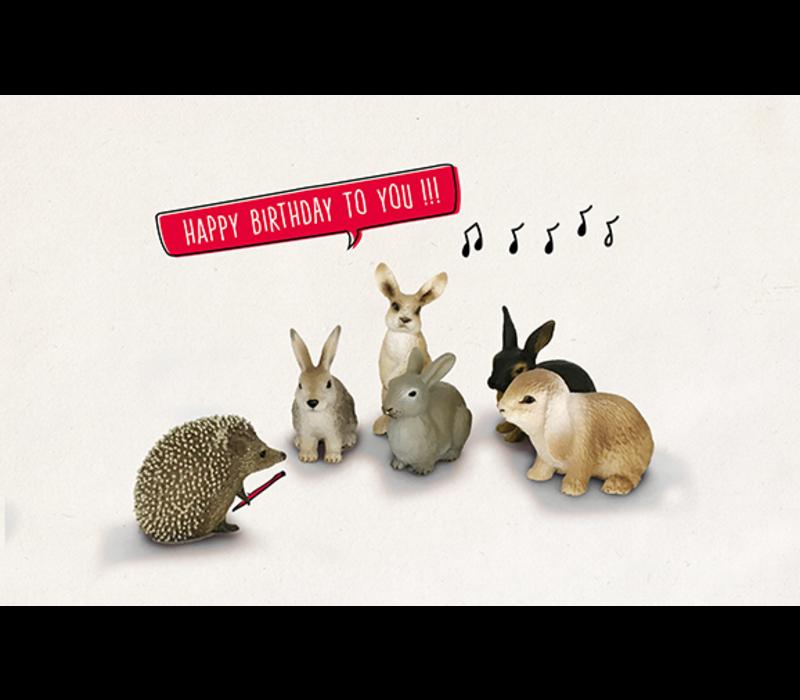 Leuke Kaartjes Greeting Card Hedgehog Rabbits Happy Birthday To You!!!