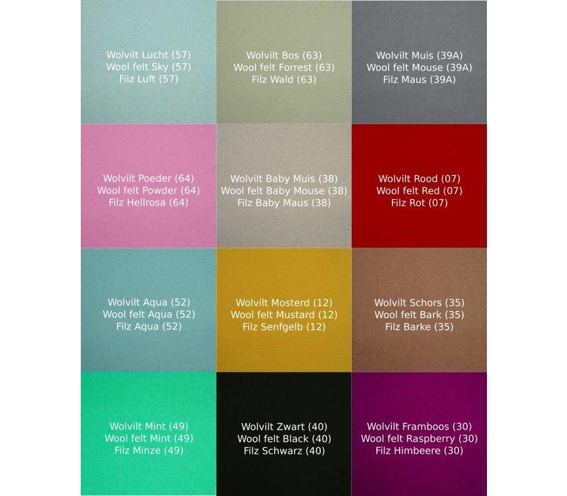 Wobbel Pro Blank Gelakt met Viltkleur Lichtblauw