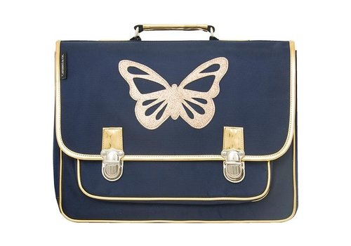 Caramel & Cie Caramel & Cie Schoolbag Blue Butterfly Gold Large