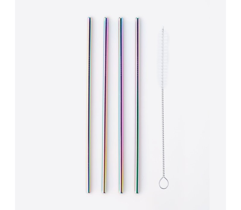 Point Virgule Set of 4 Stainless Steel Drinking Straws with Cleaning Brush