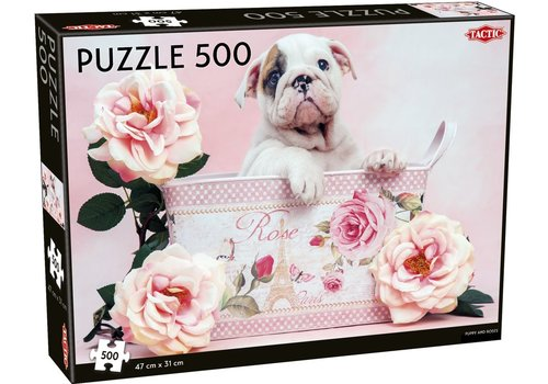 Tactic Tactic Jigsaw Puzzle Puppy and Roses 500 pc