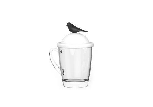 Qualy Qualy Sparrow Mug & Cover White-Black
