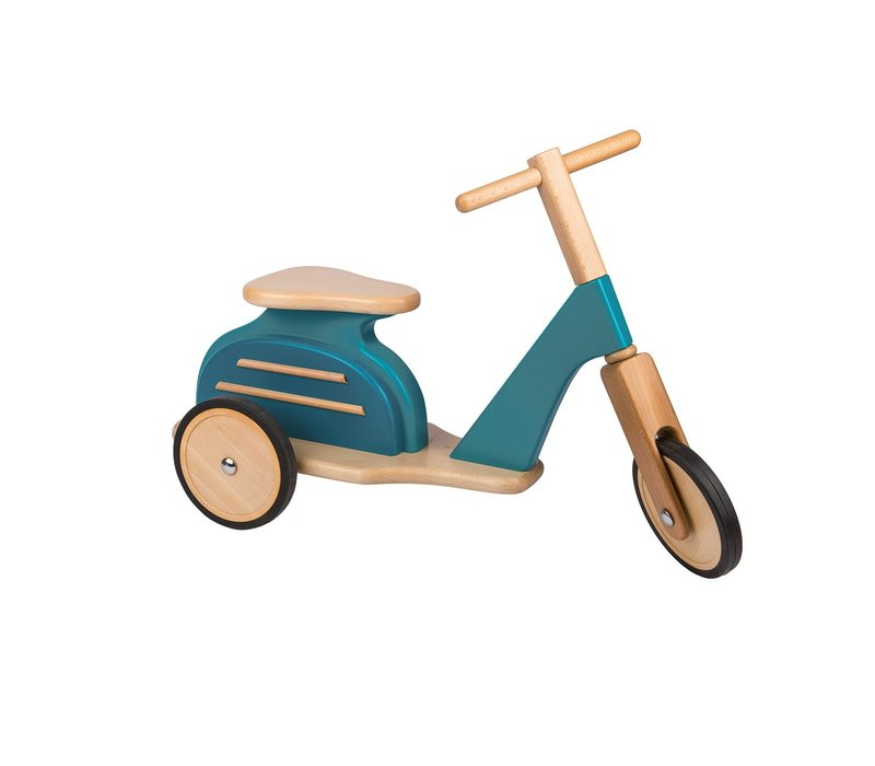 Moulin Roty Blauwe Retro Scooter in Hout