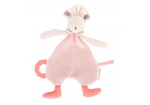 Moulin Roty Moulin Roty Pacifier with Teething Ring Pink Mouse 'Il Était Une Fois'