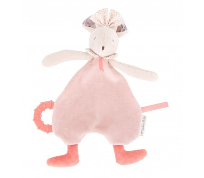 Moulin Roty 'Il Était Une Fois' Pacifier with Teething Ring Pink Mouse