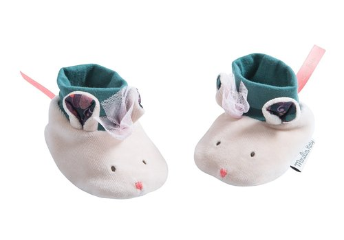 Moulin Roty Moulin Roty Baby Slippers Mouse 'Il Était Une Fois'