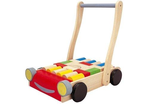 Plan Toys Plan Toys Loopwagen Auto met Bouwblokken