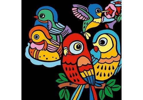Djeco Djeco Fluwelen Kleurplaten 'Baby Vogeltjes'