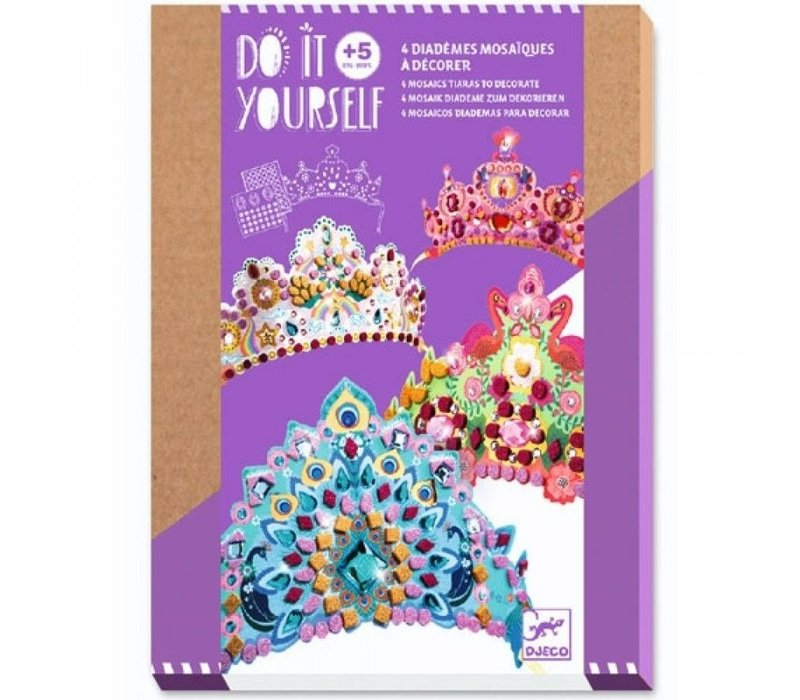 Djeco Do It Yourself 4 Mosaics Tiaras to Decorate Princesses