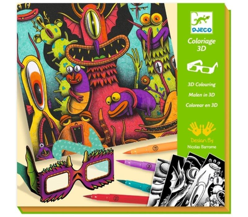 Djeco 3D-Kleuren Gekke Monsters