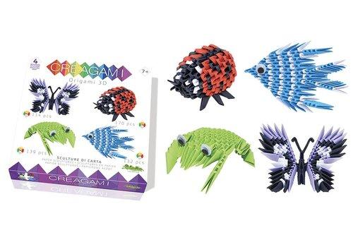 Creagami Creagami  Set van 4 3D Origami's Small Vlinder, Lieveheersbeestje, Kikker en Vis Small