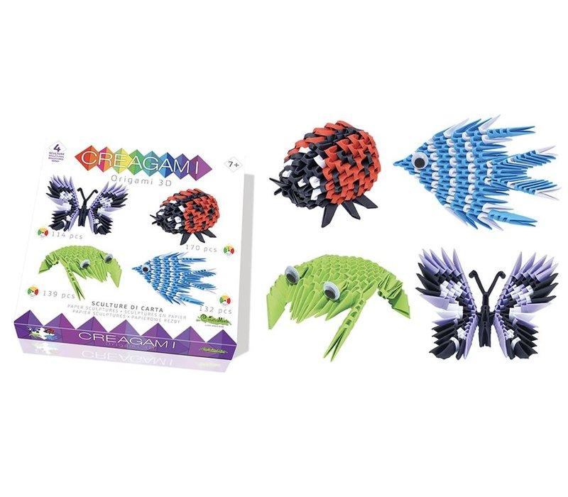 Creagami  Set van 4 3D Origami's Vlinder, Lieveheersbeestje, Kikker en Vis Small