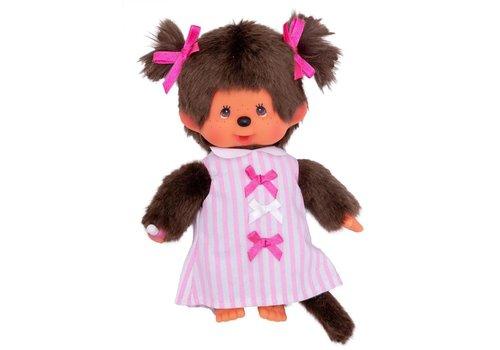 Monchhiichi Monchhichi Girl Pink Ribbon Dress 20 cm
