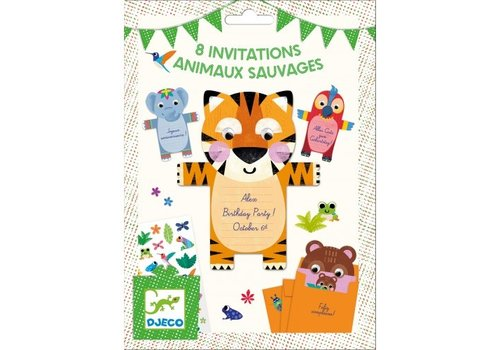 Djeco Djeco Birthday Invitations Wild Animals 8 pcs