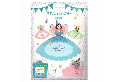 Djeco Djeco Birthday Invitations Fairies 8 pcs