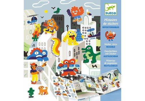 Djeco Djeco Sticker Stories Monster Invasion