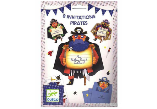 Djeco Djeco Birthday Invitations Pirates 8 pcs