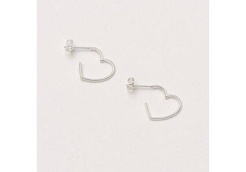 Estella Bartlett Estella Bartlett Open Heart Hoop Earrings Silver Plated