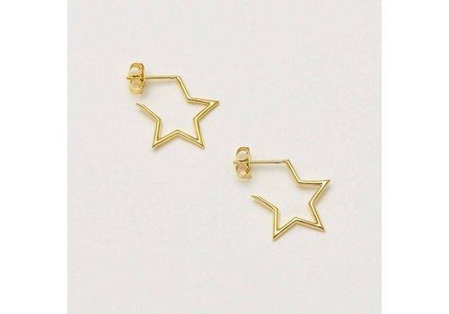 Estella Bartlett Estella Bartlett Open Star Hoop Earrings Gold Plated