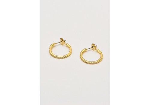 Estella Bartlett Estella Bartlett Pave Set Large Hoop Earrings Gold Plated