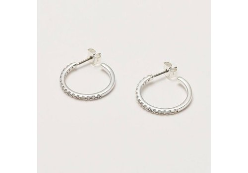 Estella Bartlett Estella Bartlett Pave Set Large Hoop Earrings  Silver Plated