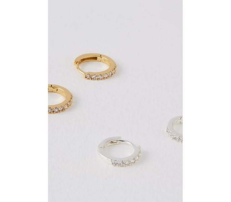 Estella Bartlett Pave Set Hoop Earrings Gold Plated with White Cubic Zirkonia