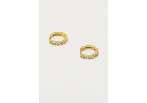 Estella Bartlett Estella Bartlett Pave Set Hoop Earrings Gold Plated with White Cubic Zirkonia
