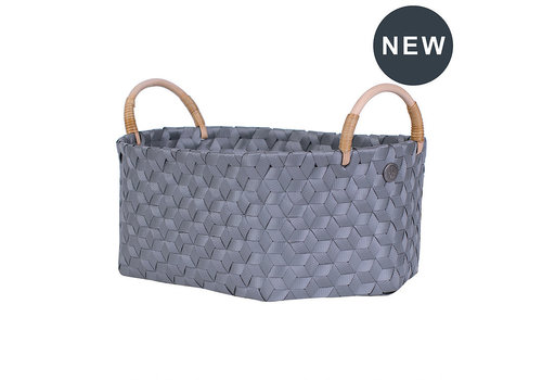 Handed By Handed By Dimensional Ovalen Basket Dark Grey size M with Ratan Handles